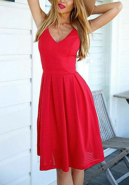 red pleated fit and knee-length dress with V-neck