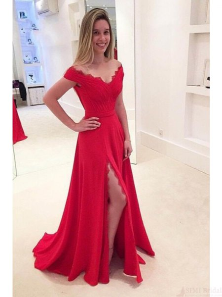 red scalloped neckline with wide V-neck, high-split floor-length dress