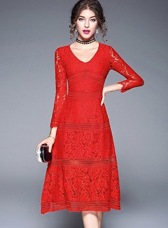 red long sleeve fit and flare midi lace dress with collar