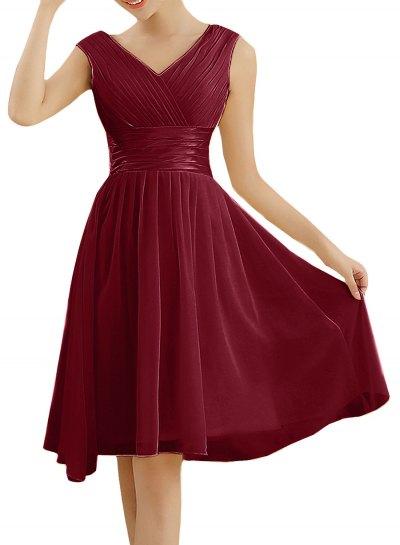 red cocktail dress with V-neck and flared velvet