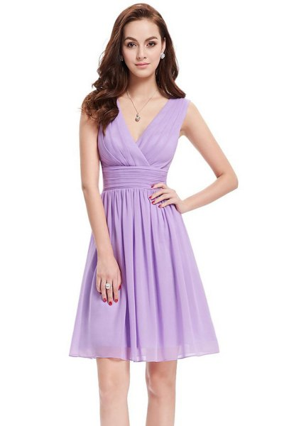 Sky blue chiffon fit and flare mini dress with V-neck