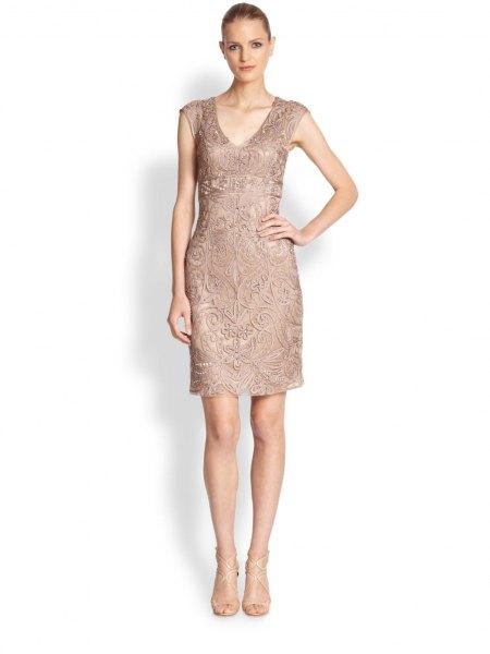 Blush Pink Lace Sleeveless Knee-Length Cocktail Dress