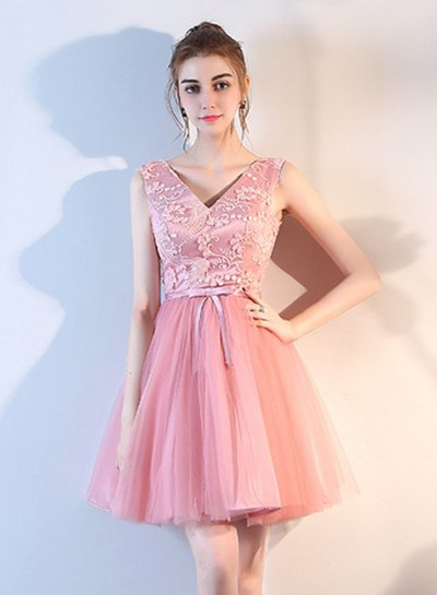 pink two-tone lace with v-neck and chiffon mini cocktail dress