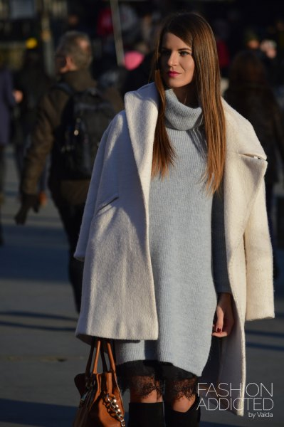 white wool coat with gray turtleneck sweater dress