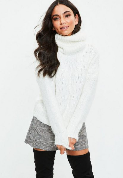 white turtleneck sweater with gray plaid and mini shorts