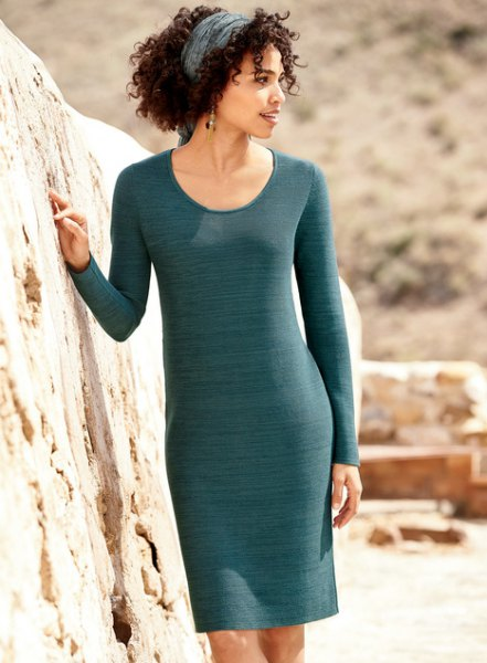gray, slim cut cotton sweater dress with scoop neck