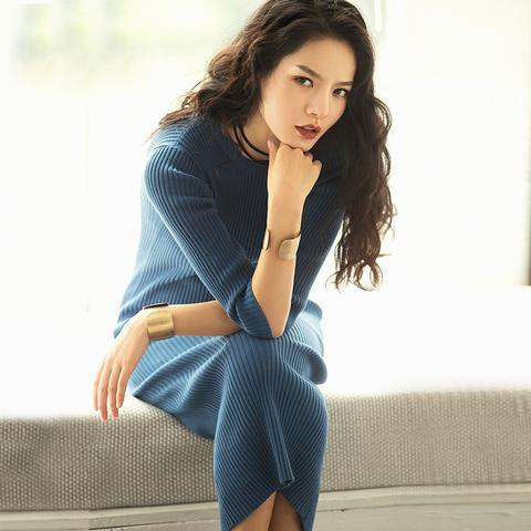 dark blue, ribbed midi slim fit sweater dress made of cotton