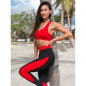 short tank top with black and red training gaiters