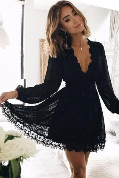 black lace with scalloped neckline, V-neck, mini fit and flared dress