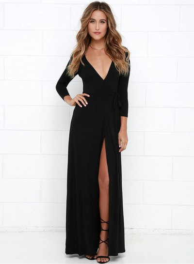 black long-sleeved dress with maxi V-neck