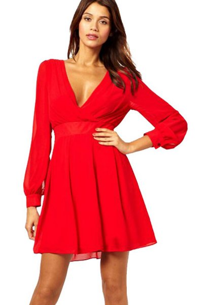 red long-sleeved mini dress with V-neck and flap