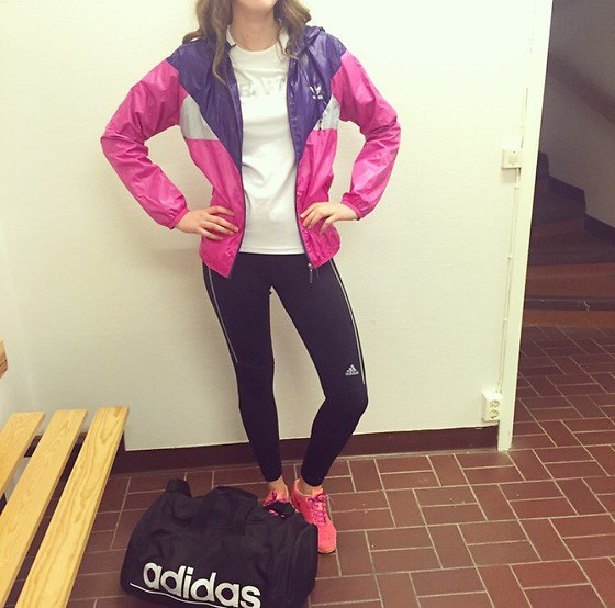 Pink and Navy Color Block windbreaker with black running pants