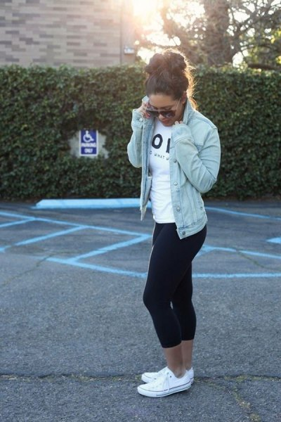 blue denim jacket with white t-shirt and black, narrow, thin running pants