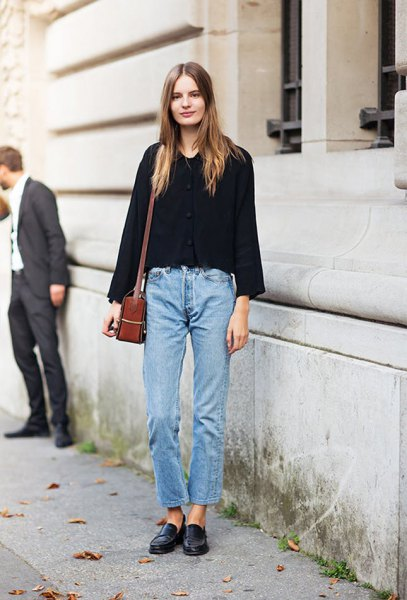 black sweater with blue jeans and loafers