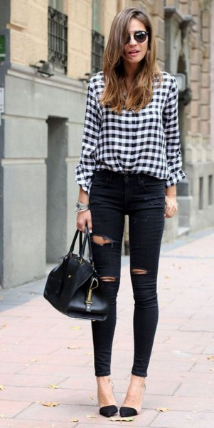 black and white checked blouse with high waisted, ripped jeans