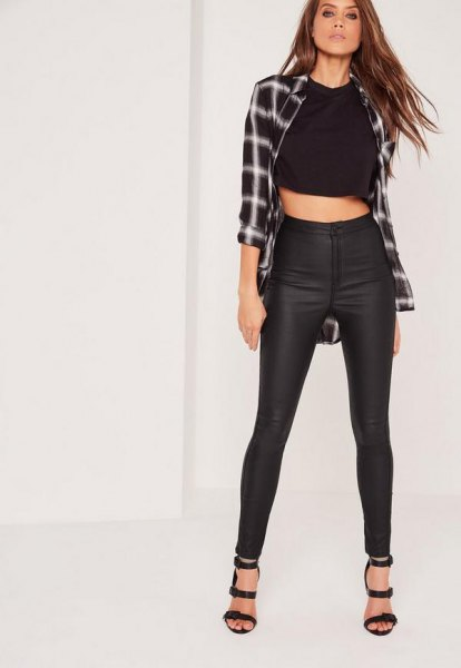 checkered boyfriend shirt with shortened t-shirt and black, high waisted, waxed skinny jeans