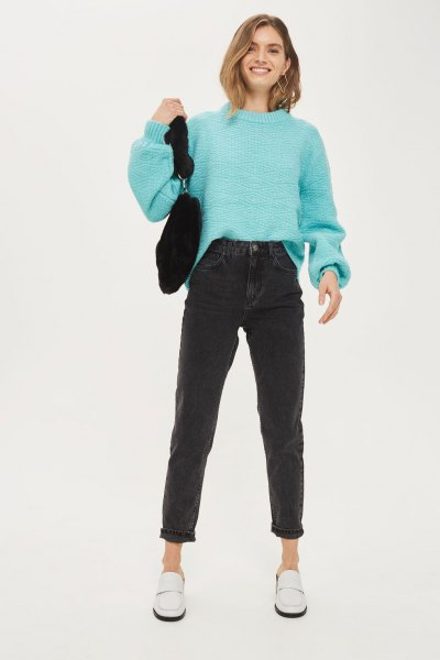 sky blue knit sweater with mock neck knit and black mom jeans