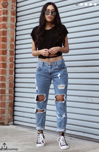 short white mesh t-shirt with mom jeans and high canvas sneakers