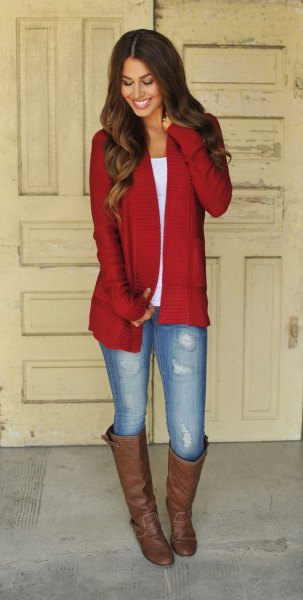 red longline cardigan with white scoop t-shirt and brown knee-high boots