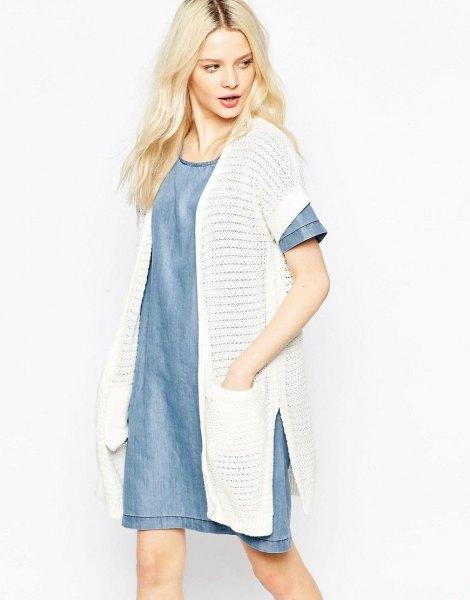 long white cardigan with blue chambray denim mini skirt