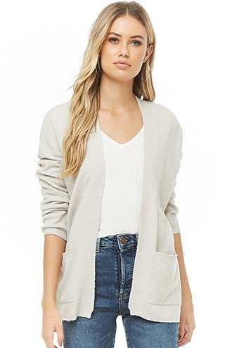 cream-colored cardigan with V-neck t-shirt and blue jeans