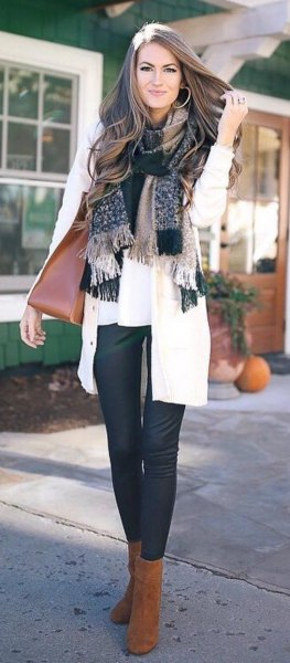 checkered fringed scarf with white blouse and cardigan