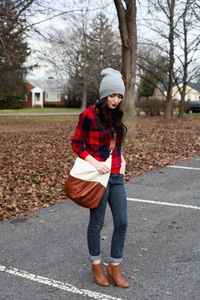 red and black checked flannel shirt with brown ankle boots