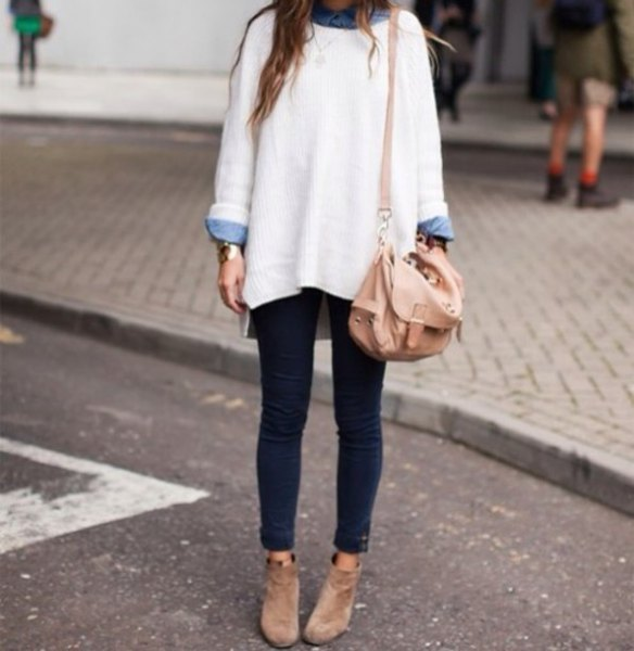 white, chunky, oversized sweater with light blue chambray shirt with buttons