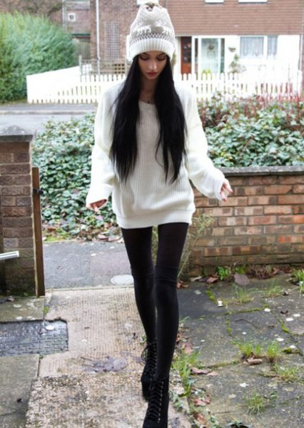 oversized sweater with white knitted hat and leggings