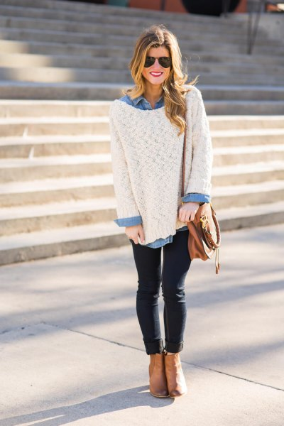 large white sweater with light blue chambray shirt