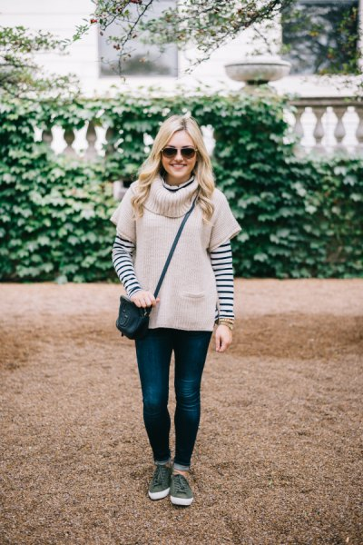 Light pink short sleeve sweater with black and white striped T-shirt