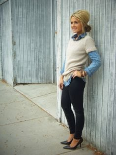 blue chambray shirt with white short-sleeved sweater