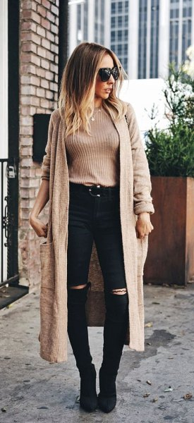 Light brown rib sweater with long brown, light brown cardigan