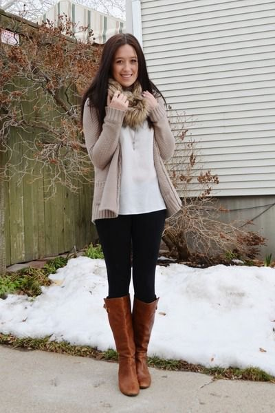 light brown cardigan with white blouse with faux fur scarf