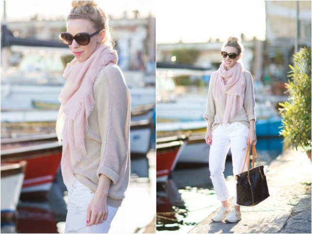 light brown sweater with scarf and white jeans