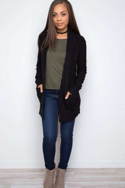 black knit sweater with collar and gray t-shirt