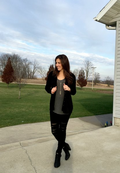 black cardigan with gray chiffon blouse and torn jeans