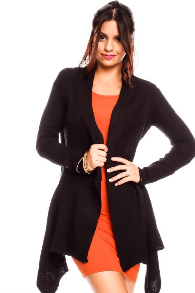 black cardigan with orange mini dress