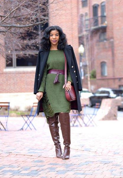 green midi dress with belt and black wool coat
