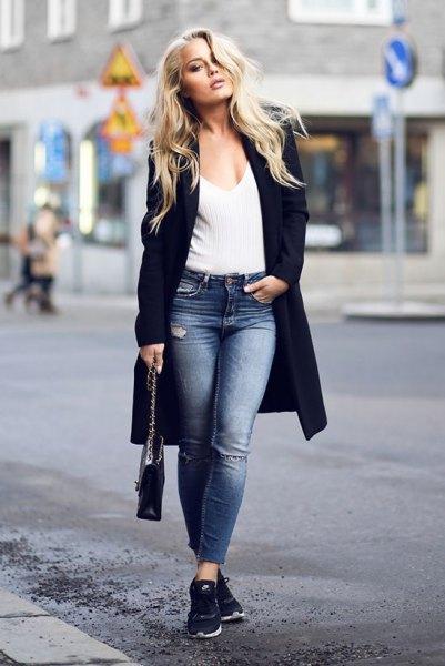 black longline blazer with black rib sweater with deep v-neck