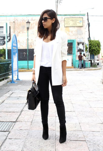 white longline blazer with black suede boots