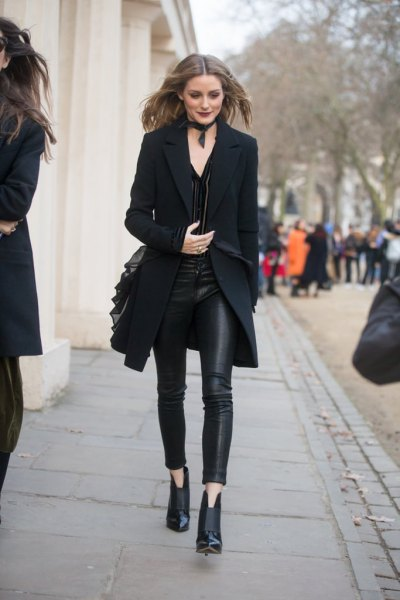 black longline blazer with leather gaiters and ankle boots