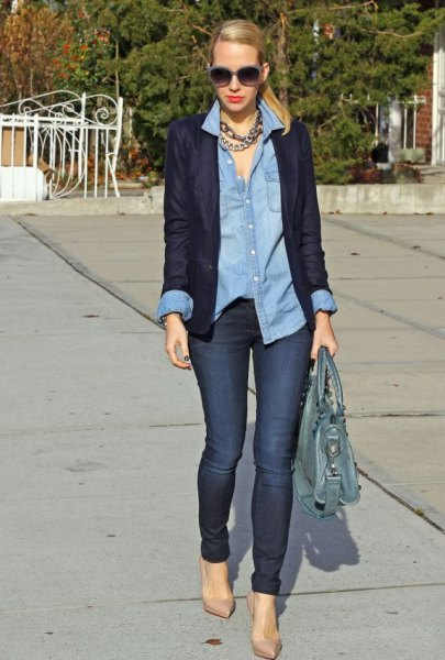 light blue chambray boyfriend shirt and dark blazer