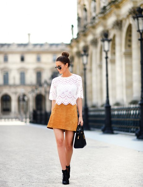 white lace top with scalloped hem and high suede skater skirt
