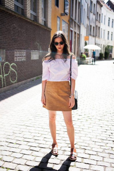 white off shoulder blouse with brown skirt and sandals