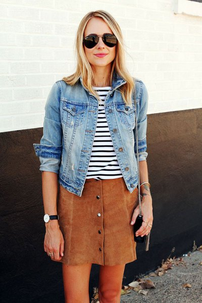 blue denim jacket with black and white striped t-shirt and brown skirt
