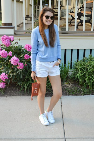 sky blue sweater with white mini denim shorts and sneakers
