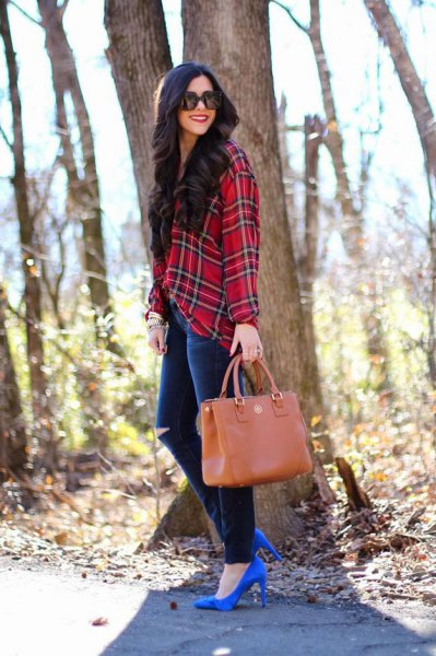 red and black checked flannel shirt with torn jeans and royal blue heels