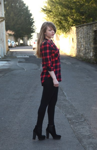 red and black checked shirt with super skinny jeans and boots with heels