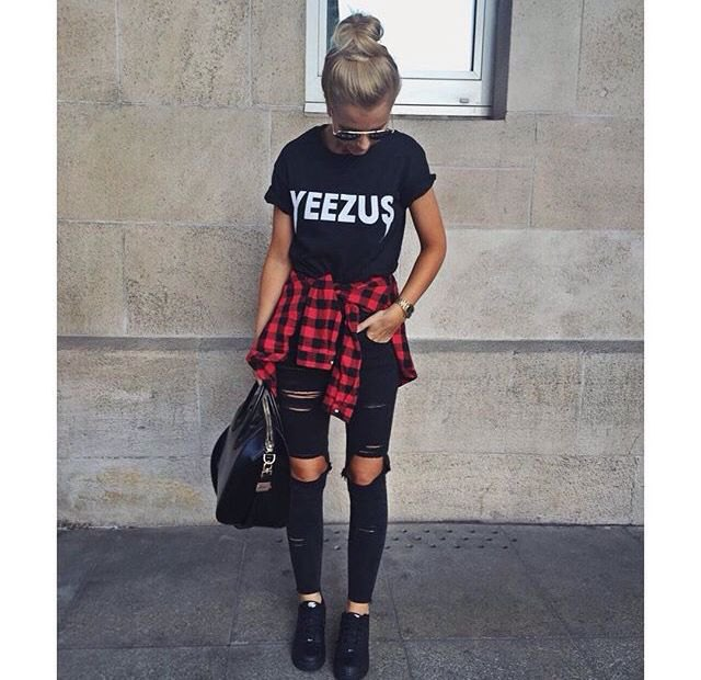black graphic t-shirt with destroyed jeans and red flannel shirt